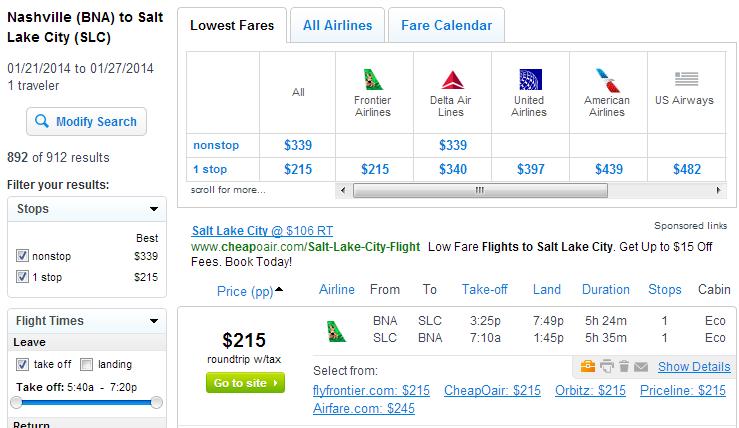Nashville to Salt Lake City: Fly.com Results Page