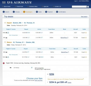 Boston-St. Thomas US Air Booking Page