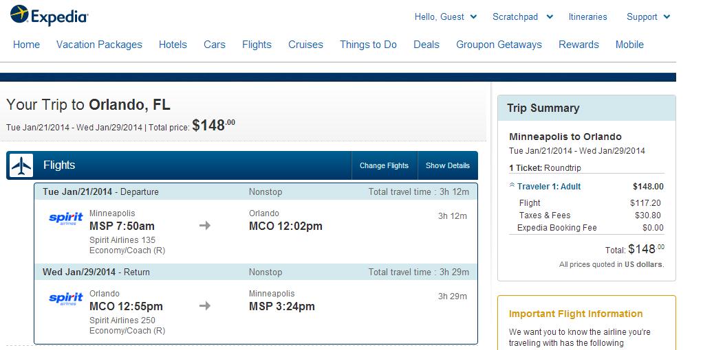 Expedia Booking Page: Minneapolis to Orlando