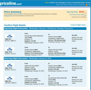 Houston-Istanbul: Travelocity Booking Page