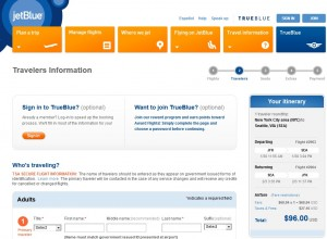 $96 -- NYC to Seattle: JetBlue Booking Page