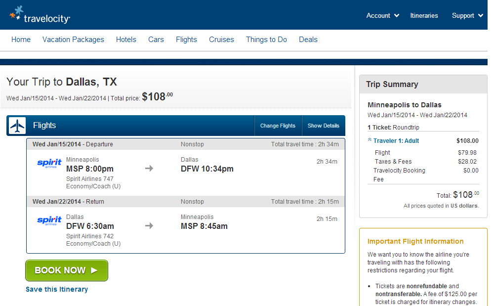 Travelocity Booking Page: Minneapolis to Dallas