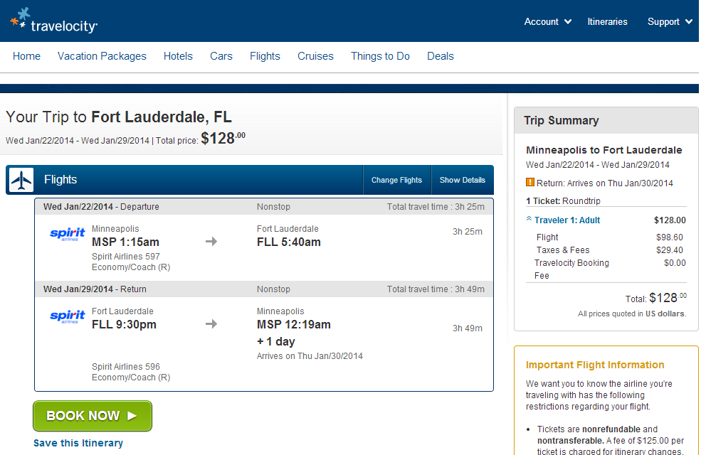 Travelocity Booking Page: Minneapolis to Ft. Lauderdale