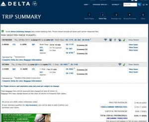 St. Louis-Los Cabos: Delta Airlines Booking Page
