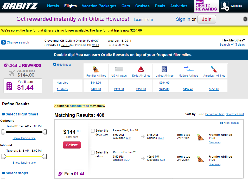 Orbitz Booking Page: CLE to MCO