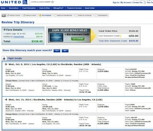 Los Angeles to Stockholm: UA Booking Page