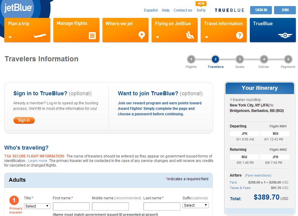 JetBlue Booking Page: NYC to BGI