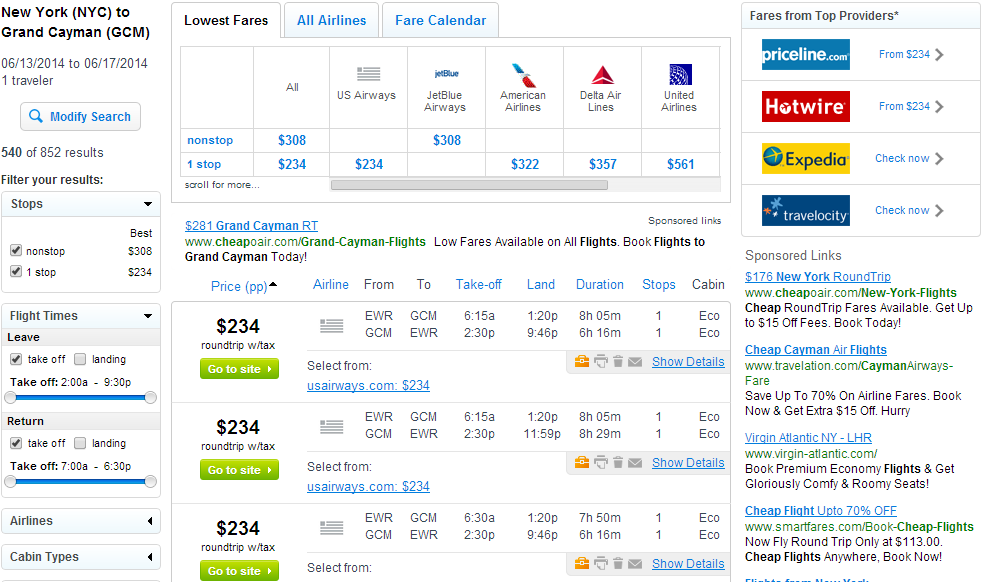 Fly.com Results Page: NYC to GCM