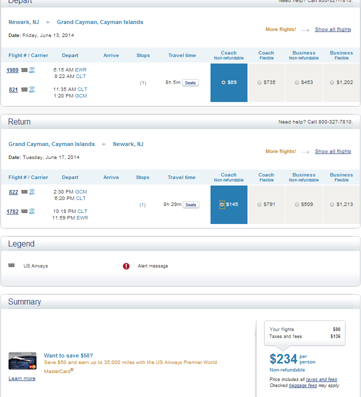 US Airways Booking Page: NYC to GCM