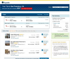 Portland to San Francisco: Expedia Booking Page