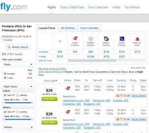Portland to San Francisco: Fly.com Results