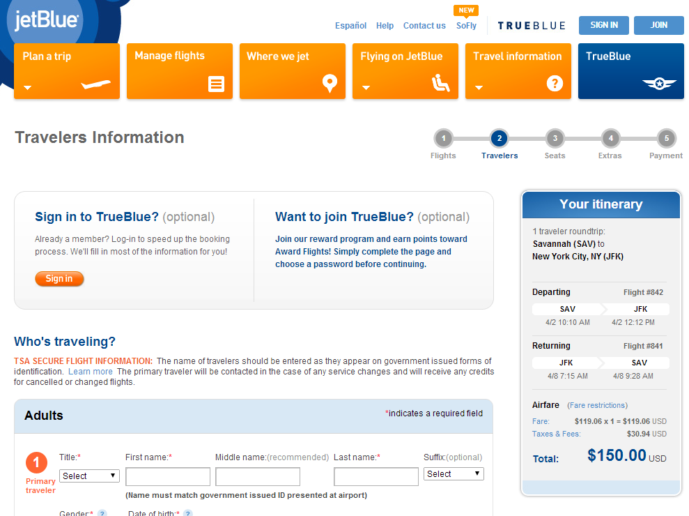 JetBlue Booking Page: Savannah to NYC