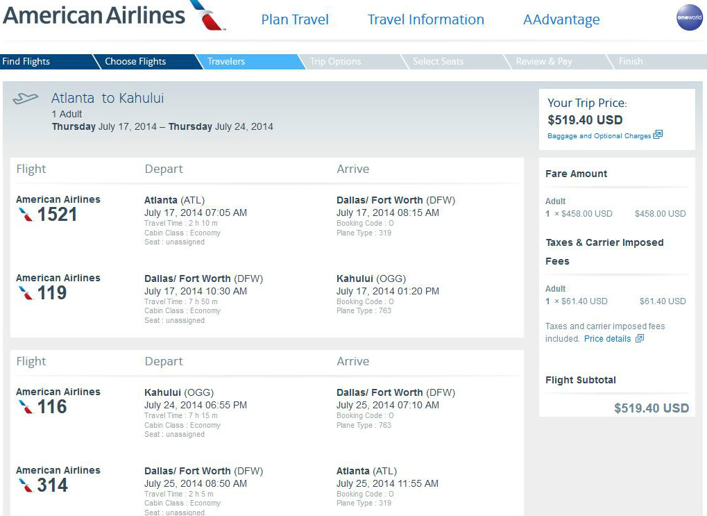 520 524 Atlanta To Maui Hawaii R T W Tax Fly