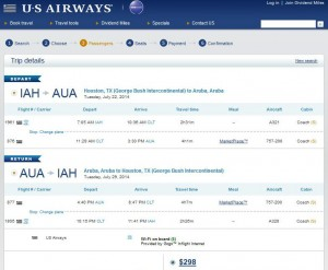 Houston to Aruba: US Booking Page