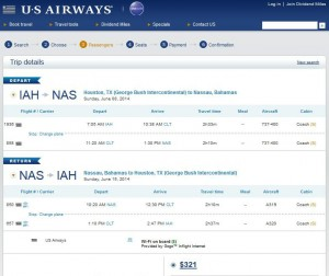 Houston to Nassau: US Airways Booking Page