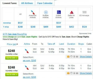 Houston to San Juan: Fly.com Search Results