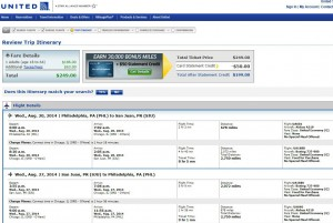 Philadelphia to San Juan: United Airlines Booking Page