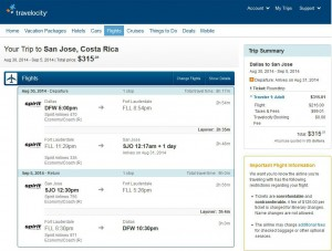 Dallas-San Jose: Travelocity Booking Page