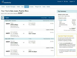 Dallas-San Juan: Travelocity Booking Page