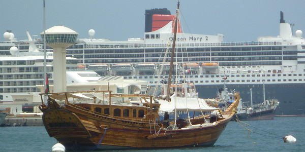 Queen Mary 2 Docked at Muscat, Oman (Godfrey Hall)