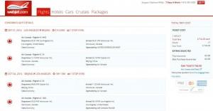 Los Angeles-Beijing: Webjet Booking Page