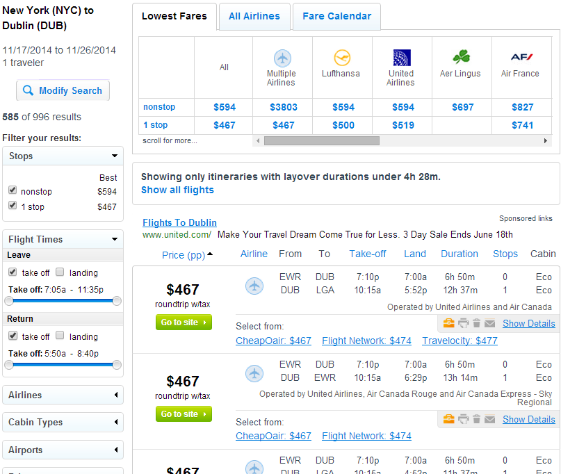 Fly.com Sear Results: NYC to Dublin