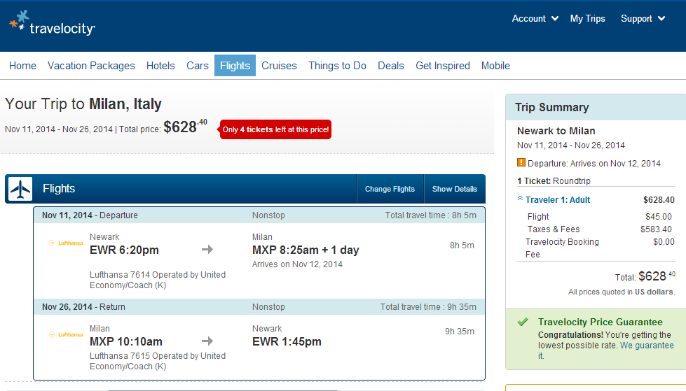 Travelocity Booking Page: NYC to Milan