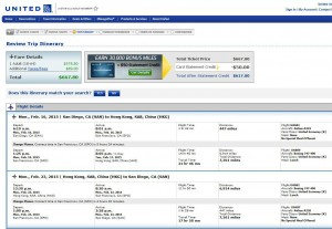 San Diego-Hong Kong: United Airlines Booking Page