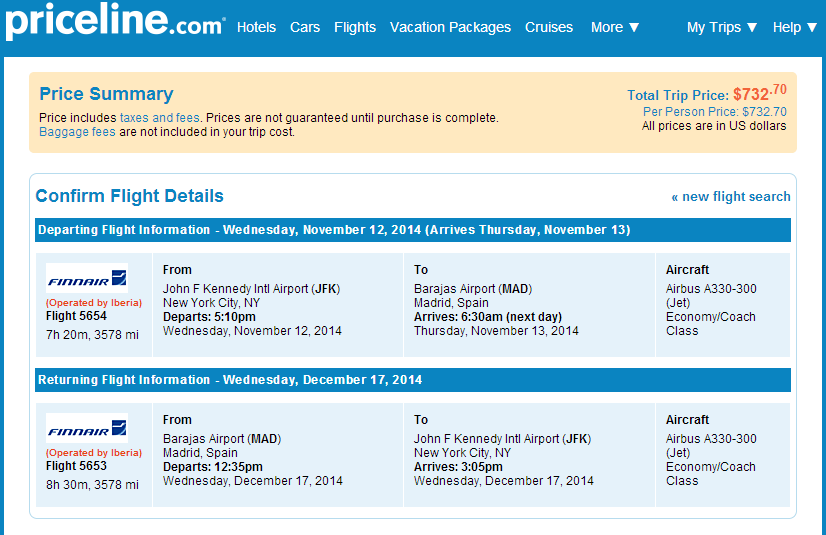Priceline Booking Page: NYC to Madrid