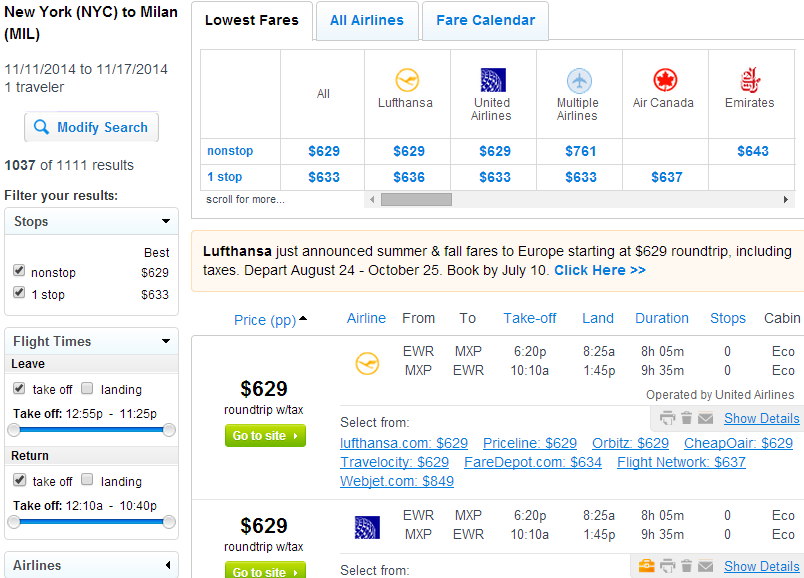 Fly.com Results Page: NYC to Milan
