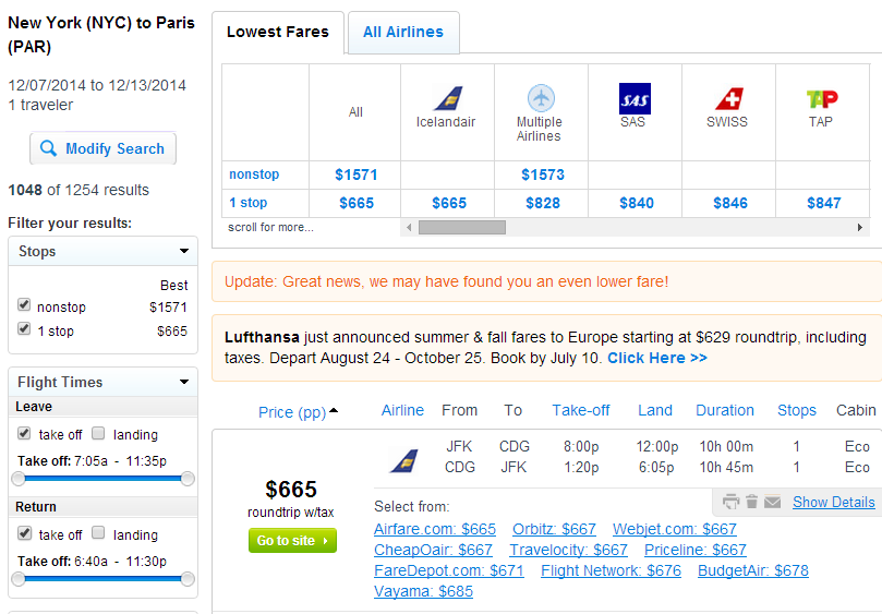 Fly.com results Page: NYC to Paris