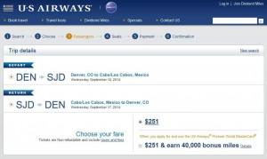 Denver-Los Cabos: US Airways Booking Page