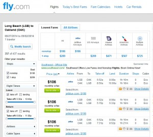$106 -- Long Beach to Oakland: Fly.com Results