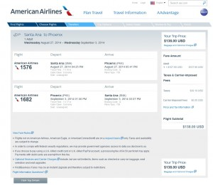 $138 -- Orange County to Phoenix: AA Booking Page