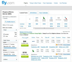 $106 -- Phoenix to Denver: Fly.com Results
