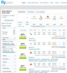 $476 -- Boston to Dublin: Fly.com Search Results