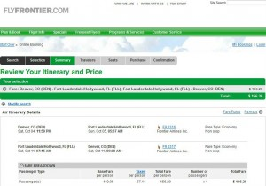 Denver-Fort Lauderdale: Frontier Booking Page