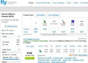 Denver-Orlando: Fly.com Search Results