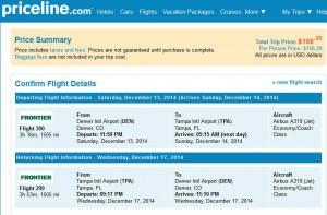 Denver-Tampa: Priceline Booking Page
