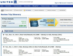 Newark-Oslo: United Booking Page