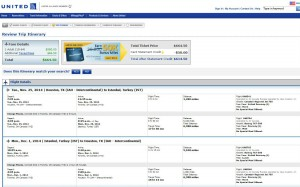 Houston-Istanbul: United Booking Page