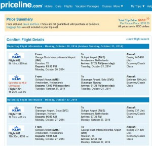 Houston-Stavanger: Priceline Booking Page