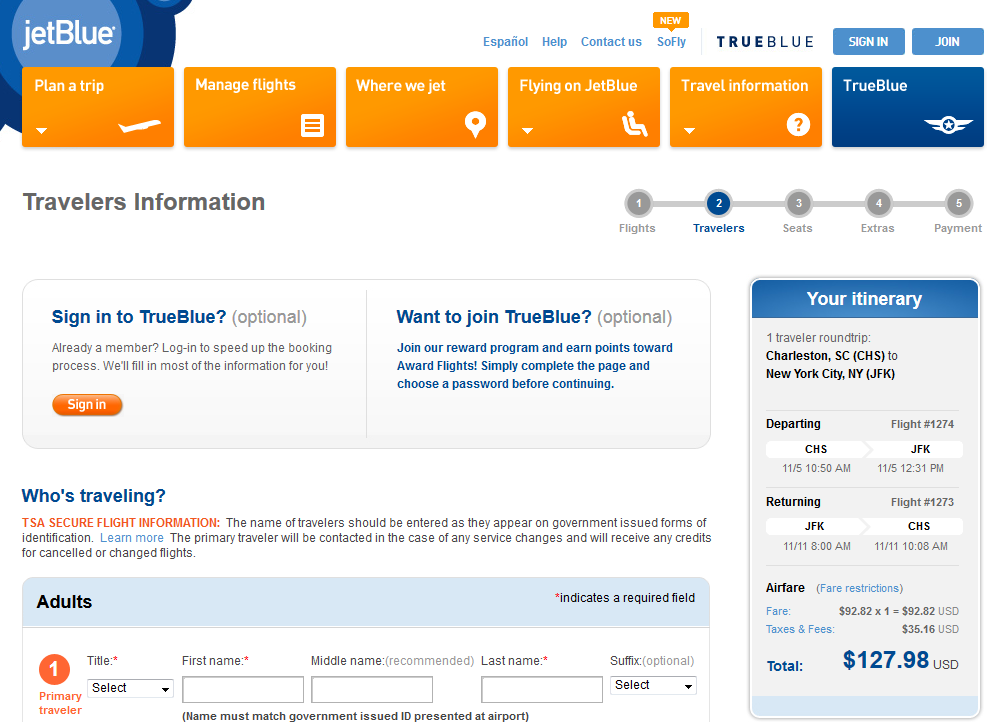 JetBlue Booking Page: Charleston to NYC