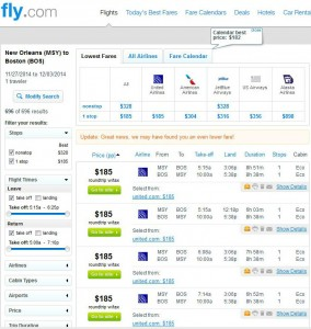 New Orleans-Boston: Fly.com Search Results