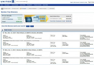 New Orleans-Boston: United Booking Page