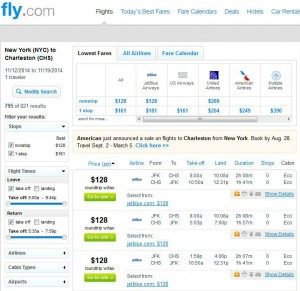New York City-Charleston, SC: Fly.com Search Results
