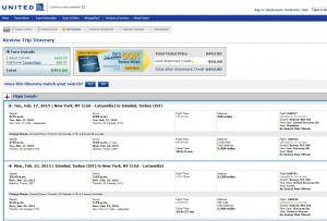 New York City-Istanbul: United Booking Page