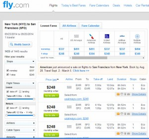 New York City-San Francisco: Fly.com Search Results