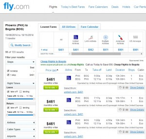 $461 -- Phoenix to Bogota, Colombia: Fly.com Search Results