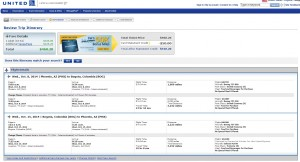 $461 -- Phoenix to Bogota, Colombia: United Booking Page